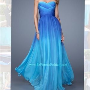 La Femme Blue Ombre Gown/Prom Dress